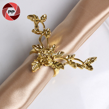 Metal gold color plum blossom wedding napkin ring