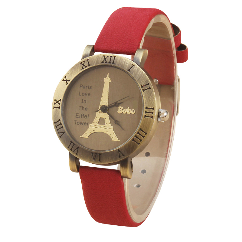Relojes Mujer 2015 Discovering Romantic Female Form Of The Eiffel Tower In Paris Retro Leather  Watches Uhren Women w017