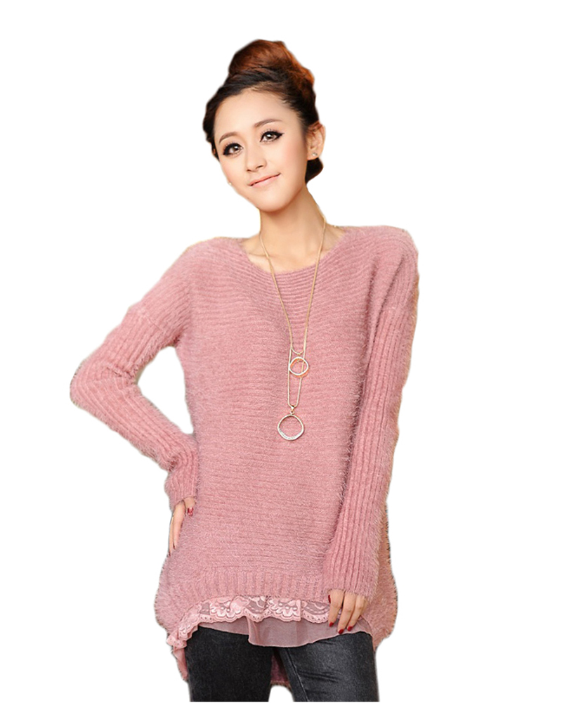 Get Quotations · New Winter Long Sleeve Casual Knitted Mohair women sweaters  and Pullovers Autumn Crochet Sweater 2015 Women 03baf0ff2