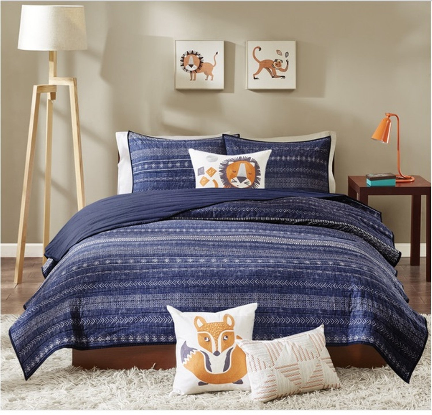 3 Piece Unique Tribal Inspired Motif Coverlet Set Twin Size, Featuring Playful Embroidered Lion Solid Design Comfortable Bedding, Novelty Contemporary Fun Unisex Kids Bedroom Decoration, Blue, Multi