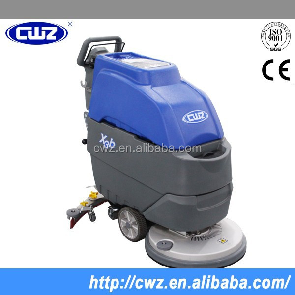 Compact hand held floor scrubber, lift used