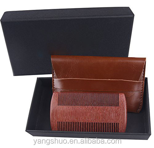 Hot sale red sandalwood packed in box and pouch beard comb set