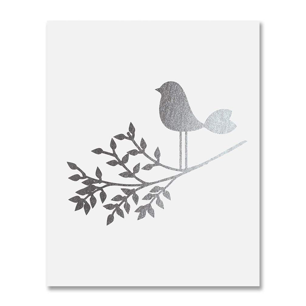 Get Quotations Bird On A Branch Silver Foil Art Print Baby Decor Nursery Poster S Room Modern
