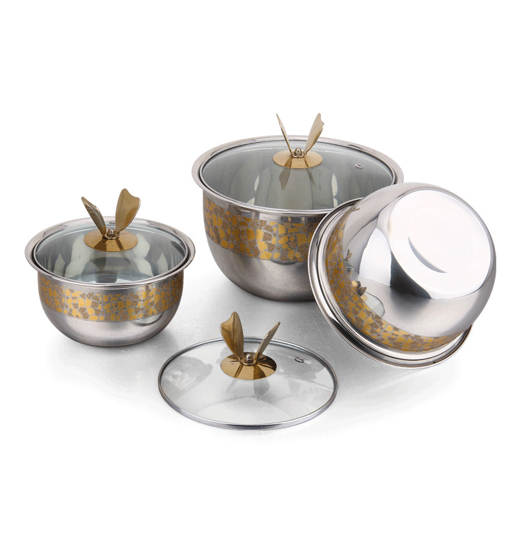 Fashionable 3pcs stainless steel tableware soup mixing bowl set with lid