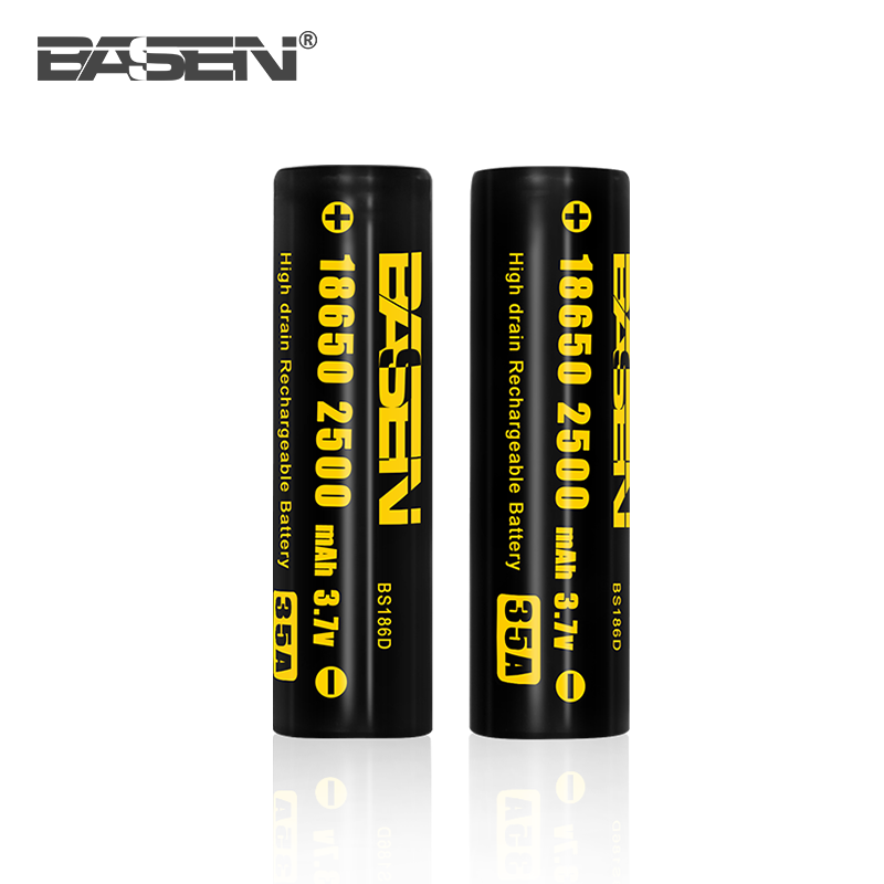 Basen 18650 2500mah 35A flat cell 3.7v cylinder lithium ion battery