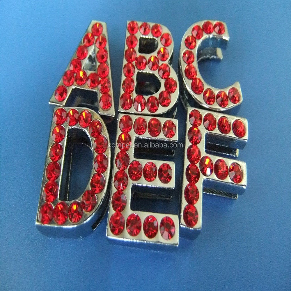 18mm Slide Letters with Red Rhinestones