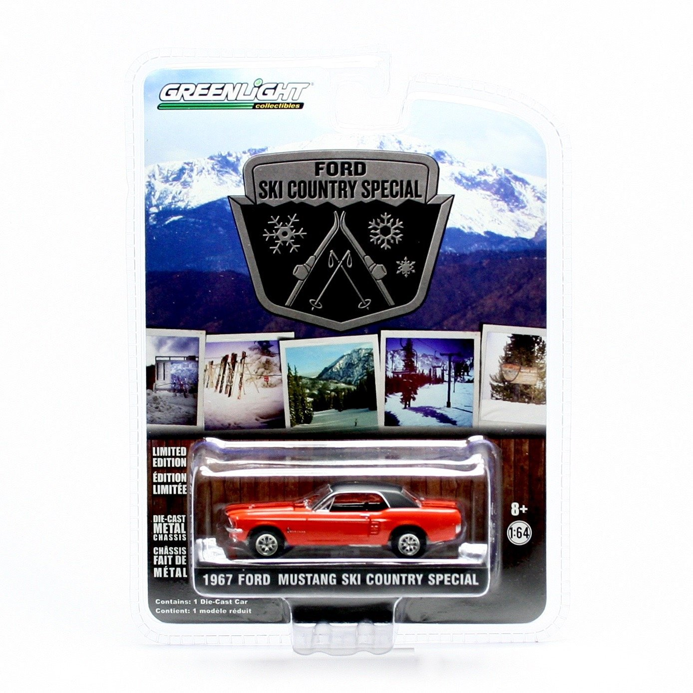 1967 FORD MUSTANG SKI COUNTRY SPECIAL (Aspen Red & Black Stripes) Hobby Exclusive 2014 Greenlight Collectibles 1:64 Scale Limited Edition Die-Cast Vehicle