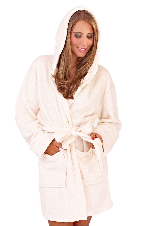 f015fff250 Get Quotations · Womens Luxury Soft Snuggle Hooded Short Bath Robe