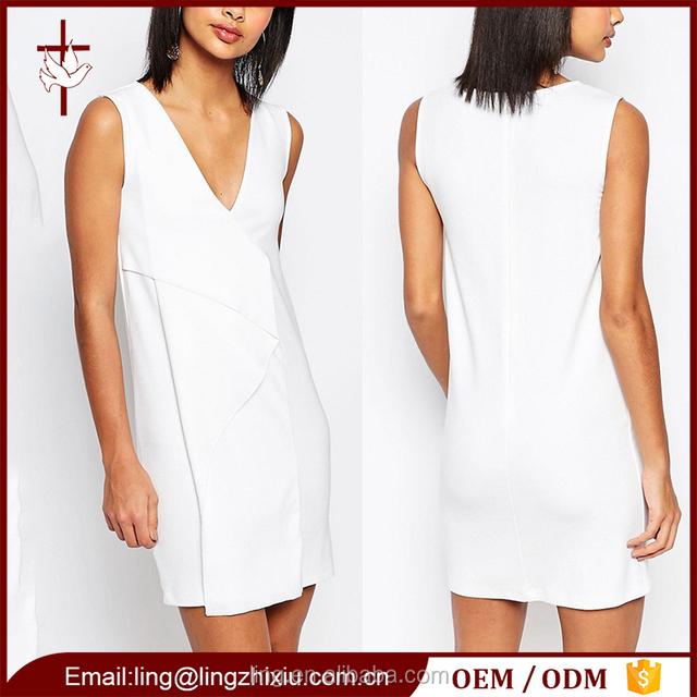 5bc8493f1f0 Women dresses 2016 fold front design elegant white short dress pattern