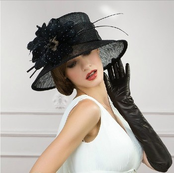 Newest Design Wedding Dress Hats With Feather Black Church For