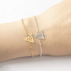 Unique Zig Zag Open Triangle Charm Bangles Gold Plated Stainless Steel Jwellery Bracelets Gometric Bangle Women Accessories