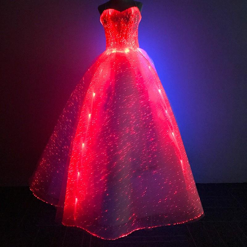 Mode Hotsale Rgb Led Light Up Bersinar Dalam Gelap Bercahaya Serat Optik Kain Ball Gown Wedding Dress Buy Fiber Optic Gaun Serat Optik Gaun Pernikahan Gaun Serat Optik Bercahaya Kain Product On Alibaba Com