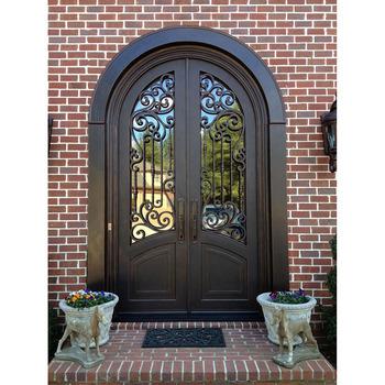 Solid entry door wrought iron villa main entrance stainless steel door designs