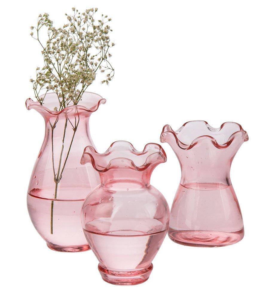 Buy Luna Bazaar Vintage Glass Vase Violet Design Vintage Pink Set