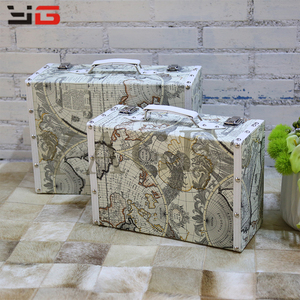 Hot selling pretty travel suitcase sets luggage wooden PU suitcase trunk decorative
