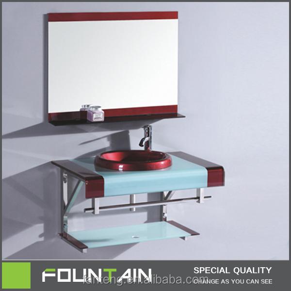 hagzhou fbrica de vidrio templado encimera de cristal redonda cuenca tazn de colores de dos piezas