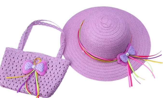 674ca79843621 Get Quotations · 2015 Summer Kids Brand Beach Hats Bags Colorful Sun Visor  Bowknot Floppy Girls Straw Sun Hat