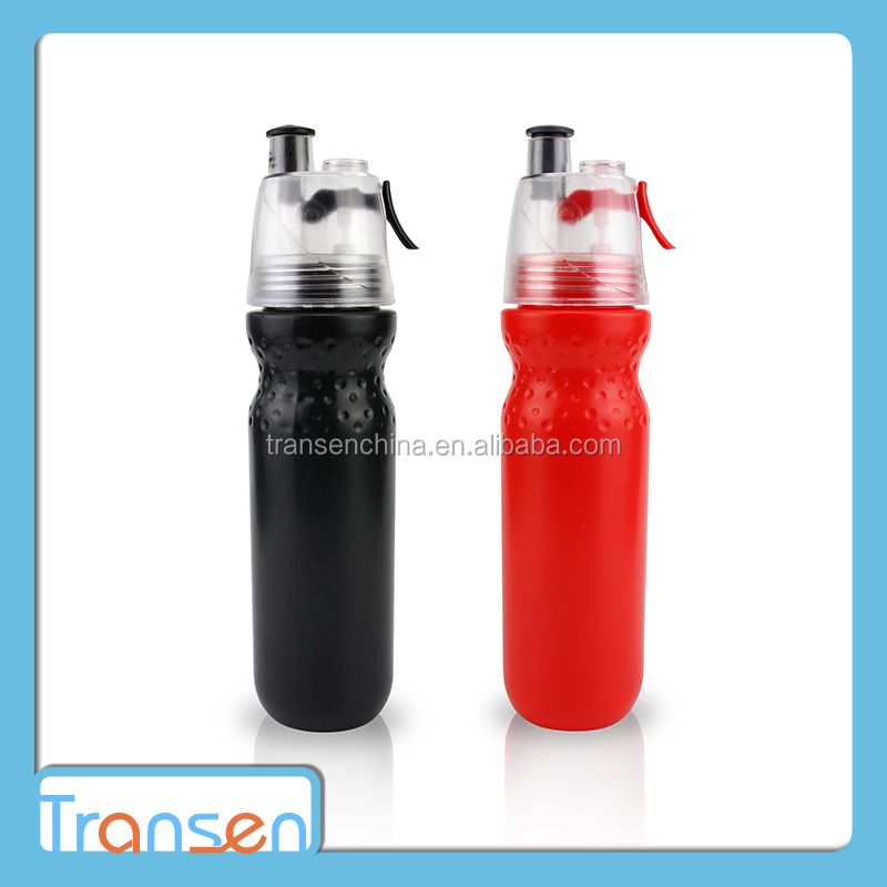 2017 new product BPA Free PE bottle power sports drinking spray plastic water bottle with straw
