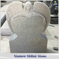 cheap g633 granite headstone with angel wings for grave
