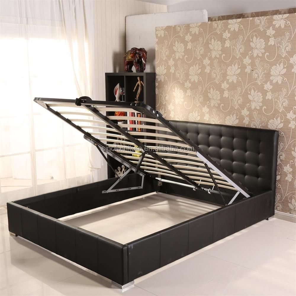 bedroom steel furniture ottoman storage double italian pu