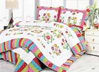 Bright color with flora design kingsize bed spreads