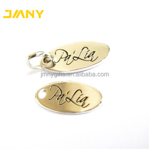 Custom Logo Oval Shape Stamped Small Metal Jewelry Tags