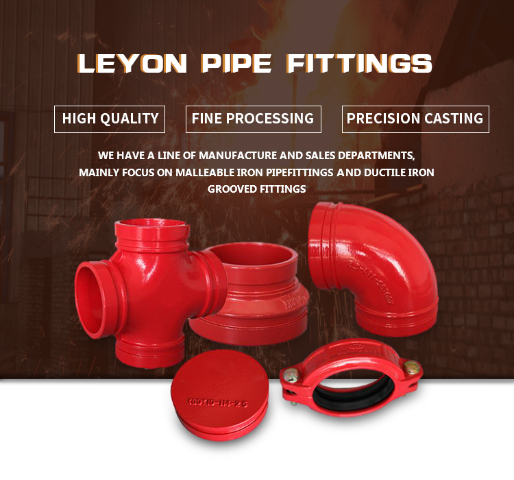 ductile iron grooved mechanical tee light-duty rigid coupling 22.5 elbow flexible couplings ductile iron grooved pipe fitting