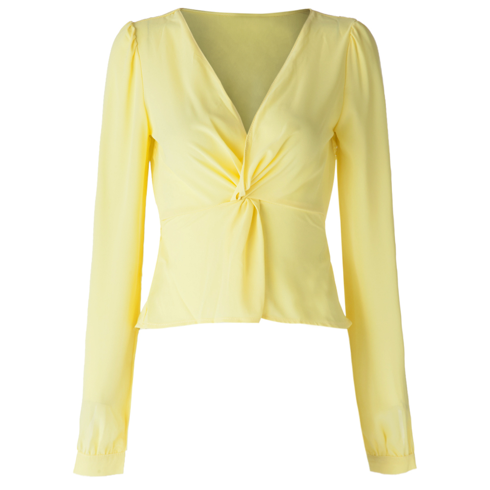 New Fashion Casual Summer Shirt V-Neck Long Sleeve Chiffon Yellow Blouse Office Work Wear Sexy Plus Size Tops blusas femininas