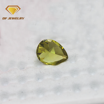 High quality pear shape peridot cubic zircon stone price