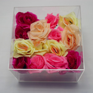 Clear Square Waterproof PMMA Acrylic Rose Box Packing Flower Box