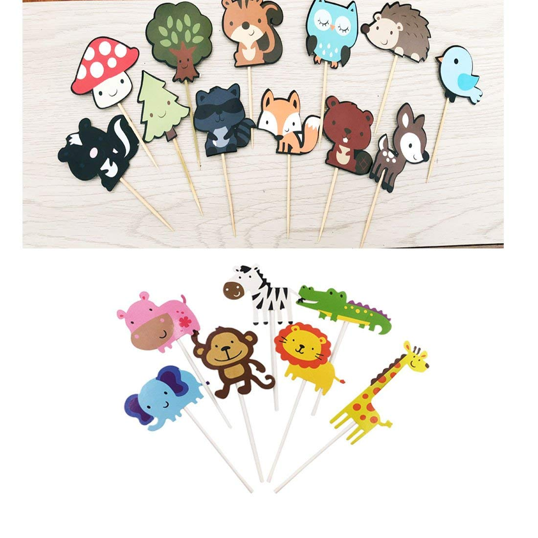 14 pack Cute Zoo animal Cupcake Toppers Picks,Jungle Animals Cake Toppers for Kids Baby Shower Birthday Party Cake Decoration Supplies And 24 packe Cute Woodland Creatures Cupcake Toppers Picks, Wood