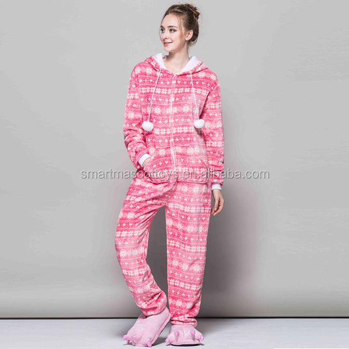 Pink snowflakes wholesale christmas onesie pajamas with soft flannel adult pink snowflakes wholesale christmas pajamas