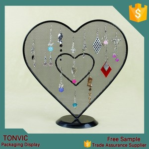 Beauty Metal Mesh Tree Earring Jewelry Display Stand With Heart Shaped