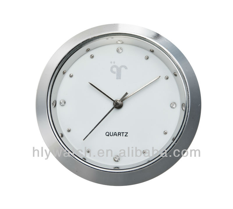 Small insert clock,round shape white dial diamante quartz insert clock fit up made in clock insert factory