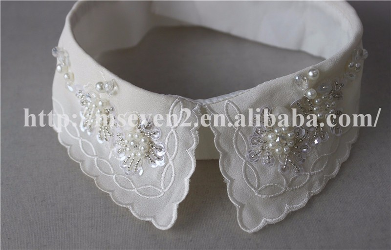 white detachable collar with crystal sequins and pearls, beaded collars for lady garments