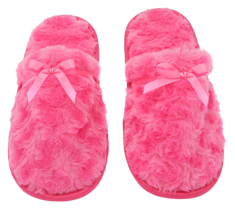 8ceb2f09c3b Get Quotations · Womens Fuzzy Fleece Slip-On Memory Foam House Slippers