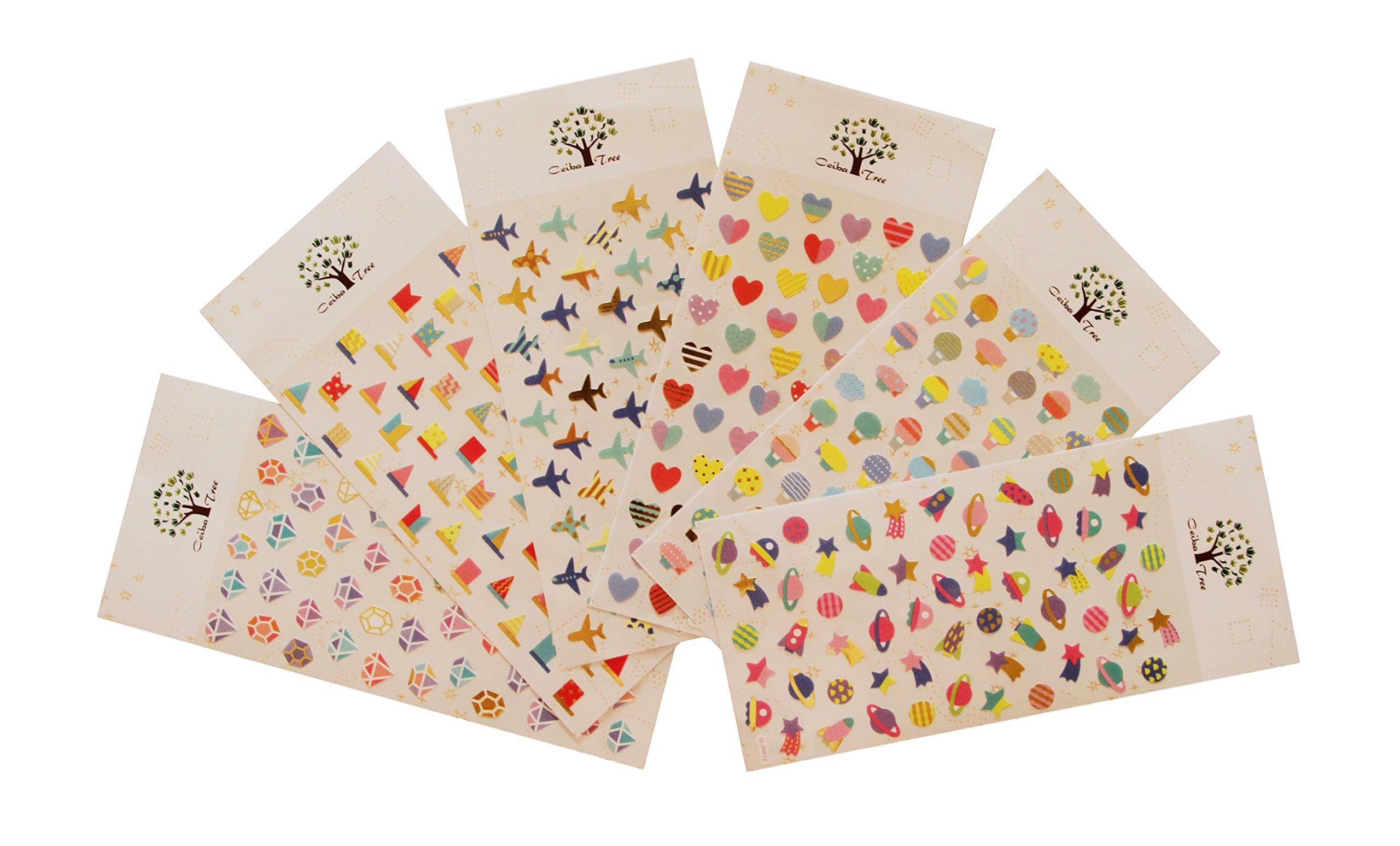 Bulk Sticker Sheet Assortment (Heart/Space/Airplane/Diamond/Flag/Hot Air Balloon) Collection for Children, Teacher, Parent, Grandparent, Kids, Craft, School, Planners & Scrapbooking