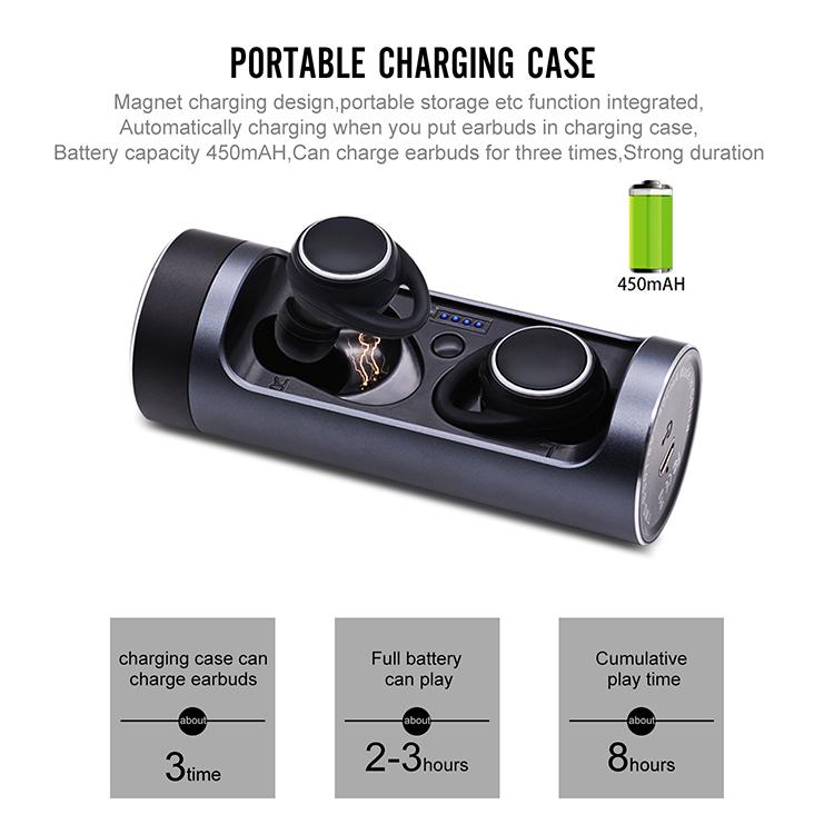 V5.0 IPX6 TWS wireless earbuds waterproof wireless mini earbuds earphone with rotation charging case