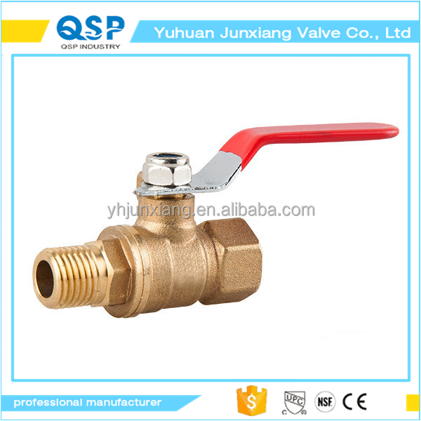 "JUNXIANG Red or blue or green Plastic Coated Metal Lever 1/4""PT Thread M/F Brass Ball Valve"