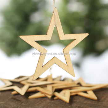 unfinished wood laser cut star shaped ornament for hanging props on christmas tree - Unfinished Wooden Christmas Ornaments