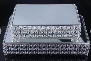 Square Wedding Crystal Beads Cake Stand Silver 2 Size Mirror