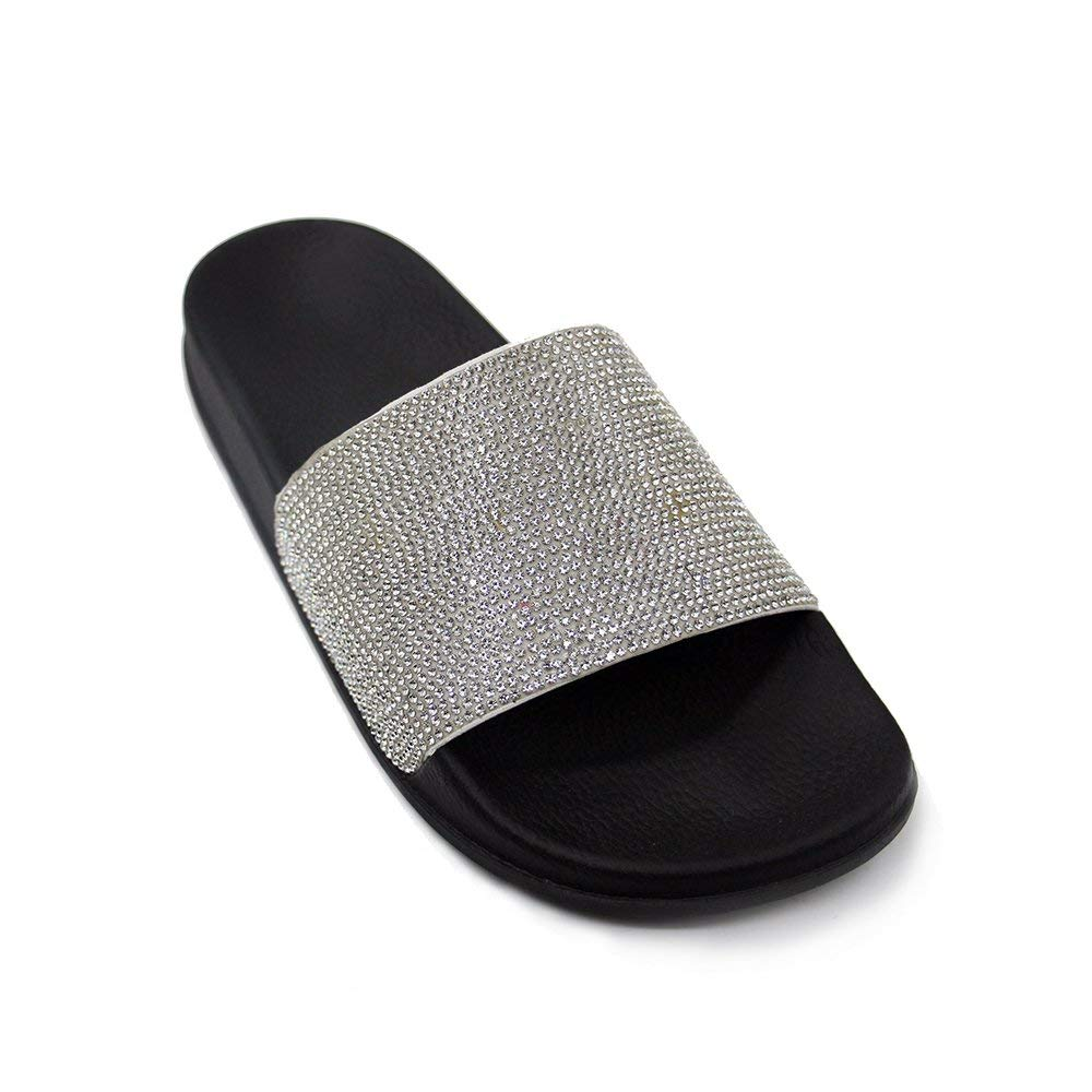 b00d0a738 Get Quotations · JOURNEI Girls Womens Bling Sparkly Crystal Slides Sandals  Slippers