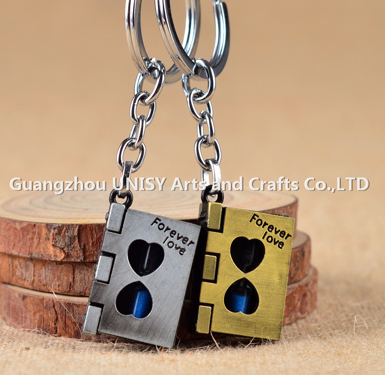 New forever love couple time hourglass Keychain / Magic Book Valentine's day key chain