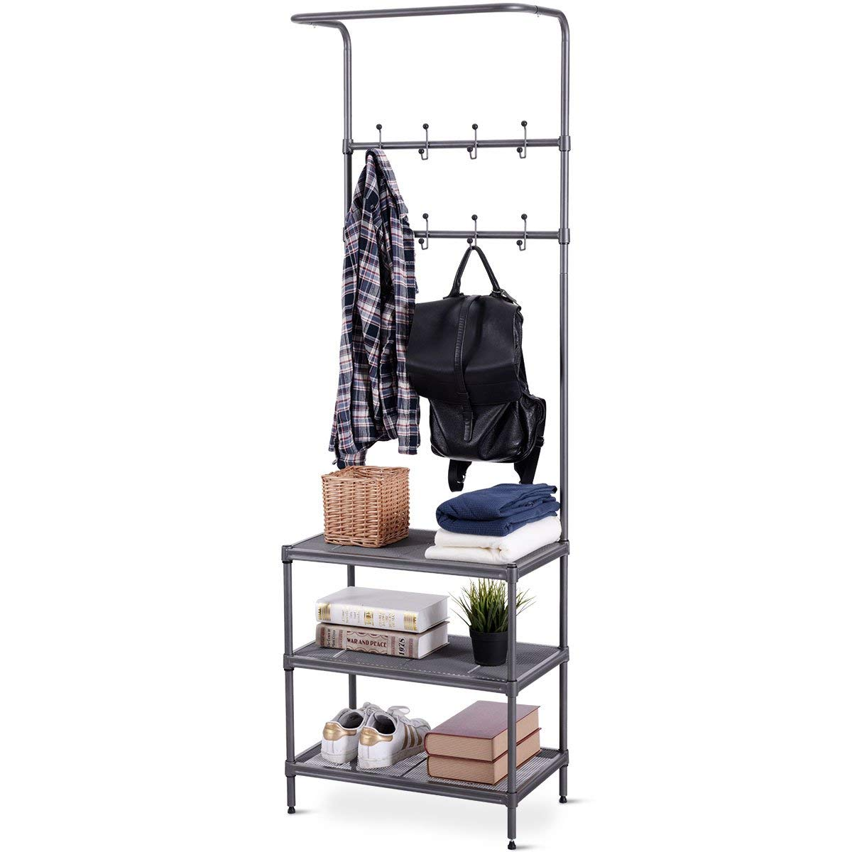 Giantex 3 Tier Entryway Coat Hat Shoes Rack Metal Storage Shelf Bedroom Living Room Office Storage Rack w/ 16 Hooks Adjustable Feet 2-in 1 Design, Easy Assembly