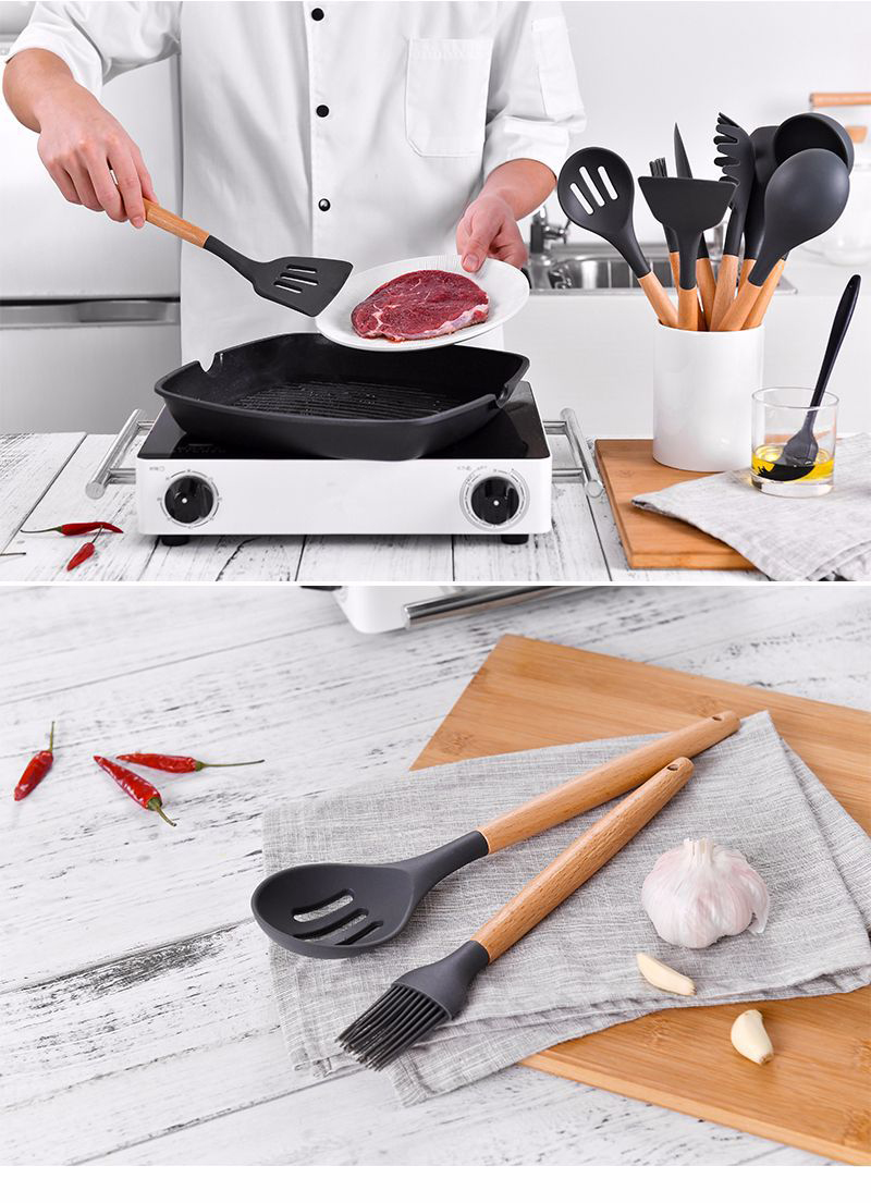Hot Sale Kitchen Accessories Tools Best Sale Wooden Handle Silicone Cooking Utensil Set