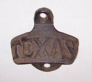 """ABC Products"" - Primitive Heavy Cast Iron - Vintage Style Wall Mount Bottle Opener - Wall Hung Primitive Design - With The Word ""TEXAS"" - (Rustic Bronze Color Finish - Opens Standard Bottle Caps)"