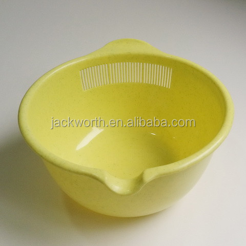 Plastic Bowl with Strainer Plastic Colander Rice Wash Bowl Filter