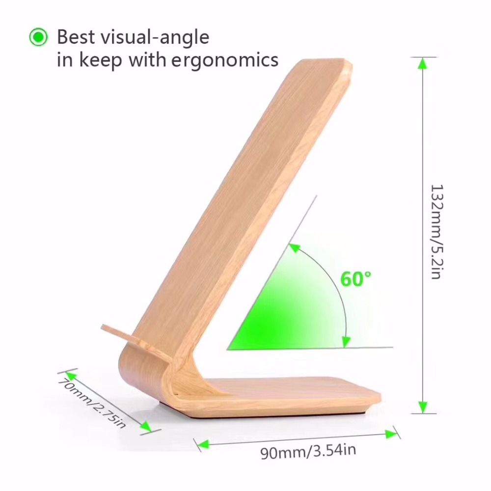 Wood <strong>Grain</strong> Stand Fast Wireless Charger, Quick Wireless Charger
