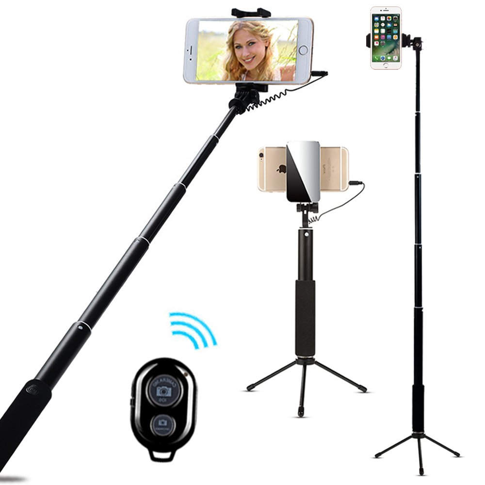 Bluetooth Selfie Stick Tripod, Extendable Monopod with Wireless Remote, AIYOOE Mini Pocket Tripod Stand with Rear Mirrior for iPhone X/iPhone 8/8 Plus/iPhone 7/iPhone 7 Plus/Huawei/Samsung/HTC(Black)