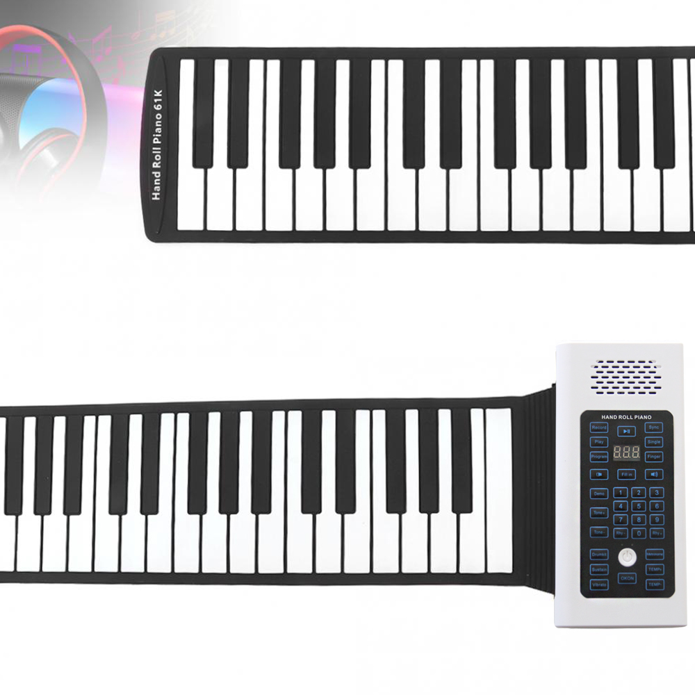 Portable Bluetooth 61 Keys Electronic Roll Up Piano with Built-in Speaker for Children Kids
